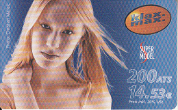AUSTRIA - Super Model Of The World, Klax Max Prepaid Card 200 ATS/14.53 Euro, Exp.date 05/04, Used