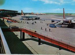"""AK AERODROME AIRPORT  FLUGHAFEN FIUMICINO  AEROPORTO INTERCONT. DI ROMA """" LEONARDO DA VINCI """"  ALTE POSTKARTE 1964 - Aerodrome"""