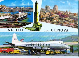 AK AERODROME AIRPORT  FLUGHAFEN FIUMICINO  AEROPORTO GENOVA ITALIEN ALTE POSTKARTE 1964 - Aérodromes