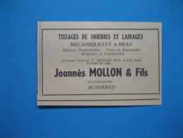 Publicité 1946  TISSAGES DE SOIERIES  à  BUSSIÈRES  -  JOANNÈS MOLLON  Et  AUGUSTE POINT - Publicidad