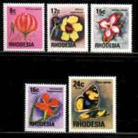 RHODESIA, 1976, Mint Never  Hinged Stamp(s) Flowers & Butterflies, MI Nrs. 175-179, #466 - Rhodesia (1964-1980)