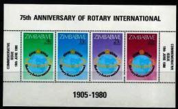 ZIMBABWE, 1980, Mint Never Hinged Stamp(s) Block Nr. 5, Rotary International, MI Nr(s). 242-245, #5265 - Zimbabwe (1980-...)