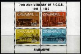 ZIMBABWE, 1980, Mint Never Hinged Stamp(s) Block Nr. 6, Postal Savings Bank, MI Nr(s). 247-250, #5266 - Zimbabwe (1980-...)