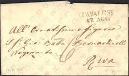 """PREFILATELICA AUSTRIACA: PIEGO DA CAVALESE A RIVA - 17-08-1845 - AL RETRO ANNULLO """"RIVA 19 Ag"""" - SEGNO DI TASSA - Autriche"""