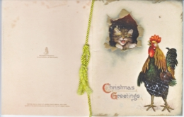 VICTORIAN  ERA  1880´s   TUCK  CHRISTMAS  CARD   CAT  CHICKEN - Christmas