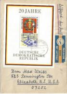 Germany (DDR) 1969  20 Jahre DDR  Mi.1507 (block 28) Bad Liebenwerda - USA 4.11.69 - Lettres & Documents