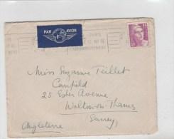 GANDON 15F YT 727 SEUL SUR LETTRE AVION 1946 POUR L ANGLETERRE - Marcophilie (Lettres)
