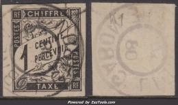 *RARE* 1c Taxe Oblitéré LIBREVILLE - GABON (cote Dallay +++€)