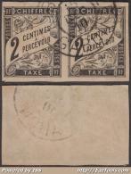 *RARE* Paire 2c Taxe Oblitéré LIBREVILLE -GABON (cote Dallay +++150€) - Gabon (1886-1936)