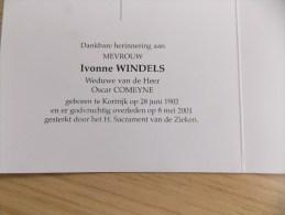 Doodsprentje Ivonne Windels Kortrijk 28/6/1902 - 8/5/2001 ( Oscar Comeyne ) - Religione & Esoterismo