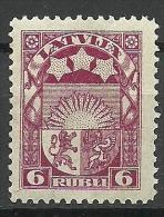 LETTLAND Latvia 1921 Coat Of Arms Wappe 6 Rubli Michel 82 MNH - Lettland