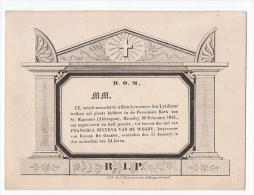Doodsbrief Op Dun Karton Akkergem 1843 Francisca Minerva VAN DE WEGHE Huysvrouw Eduard De Graeve Lith Rousseau Gand - Décès