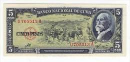 CUBA/KUBA 1960 BANCONOTA 5 PESOS FIOR DI STAMPA CON FIRMA DI CHE GUEVARA