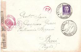 1941 CENT.50 SU BUSTA VERIFICATA X CENSURA N°29 DA POTENZA A BARI - 1900-44 Vittorio Emanuele III