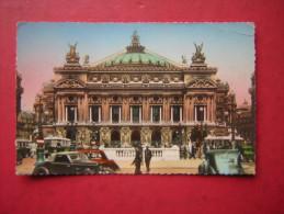 CPSM   75  PARIS   THEATRE DE L'OPERA     ANIMEE VOITURES    VOYAGEE 1956  TIMBRE - Francia
