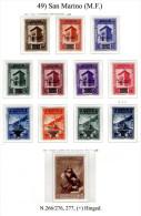 San-Marino-(M.F.)-0049 - 1943-1944 - Sassone: N.266/276, 277, P.A.n.42/47, 48, (+) Hinged. - Nuovi