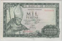 B00364 1000 Ptas 19 Nov 1965, U0399851,  About XF, Pick 151 - [ 3] 1936-1975 : Régence De Franco