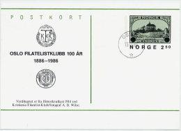 NORWAY 1986 Centenary Of Oslo Philatelic Club Postal Stationery Card, Cancelled.  Michel P190 - Postal Stationery