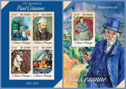 st14215ab S.Tome Principe 2014 Painting Paul Cezanne 2 s/s