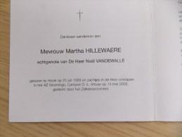 Doodsprentje Martha Hillewaere Heule 25/7/1929  14/5/2002 ( Noël Vandewalle ) - Religione & Esoterismo