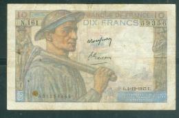 FRANCE - 10 FRANCS MINEUR - 4 12 1947     - N.161  59356  ( état  4/10 )LAURABILL06 - 1871-1952 Circulated During XXth