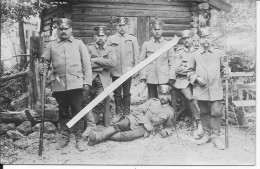 Groupe De Soldats Allemands Landsturm Devant Une Cabanne 1 Carte Photo 1914-1918 14-18 Ww1wwI Wk - War, Military