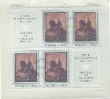 PIOTR MICHALOWSKI 1801-1855 RYCERZ NA GNIADYM KONIU MALARSTWO POLSKIE BLOC OBLITERE 1968POLAND 1968 POLISH PAINTINGS