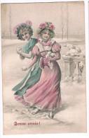 CPA Circulée En 1907 - Jeunes Filles Jouant Dans La Neige, Boules De Neiges - Bonne Année, ASV 345-5 - Vienne