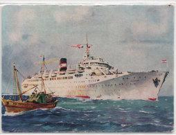 """Paquebot """" KAIROUAN """"  Aquarelle R. Chapelet - Algérie, Tunisie, Iles Baléares  (72432) - Passagiersschepen"""