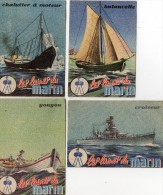 4 Chromos / Images  - LES  LAINES  DU  MARIN -  Croiseur - Youyou -  Chalutier à Moteur -  Balancelle - Alte Papiere