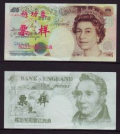(Replica)China BOC Bank Training/test Banknote,United Kingdom Great Britain B Series 5 POUND Specimen Overprint,used - [ 8] Fakes & Specimens
