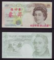 (Replica)China BOC Bank Training/test Banknote,United Kingdom Great Britain B-2 Series 5 POUND Specimen Overprint,used - [ 8] Fakes & Specimens