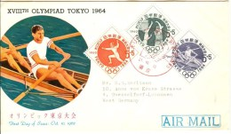 JAPAN First Day Cover With Airmail To Germany Basketball, Rowing And Fencing - Summer 1964: Tokyo