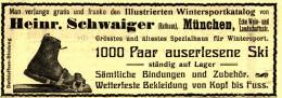 Original-Werbung/ Anzeige 1912 - SKI / SCHWAIGER MÜNCHEN -  Ca. 140 X 45 Mm - Werbung