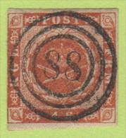 "DEN SC #4  Royal Emblems  3 Margins, ""88"" (Mariager) In Concentric Circles, CV $15.00 - 1851-63 (Frederik VII)"