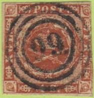 """DEN #4  Royal Emblems  3 Margins, """"99"""" (Fredensborg) In Concentric Circles, CV $15.00 - 1851-63 (Frederik VII)"""