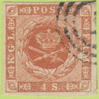 DEN SC #4a  Royal Emblems  4 Margins, W/~1mm Tear In LR  Margin, CV $15.00 - 1851-63 (Frederik VII)