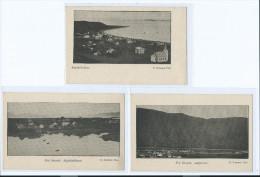 3 CARTES ISLANDE ISAFJORDUR SAUDARKROKUR STYKKISHOLMUR 2 scans (R2 FREE SHIPPING REGISTERED)