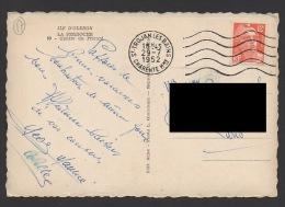 DF / SUR CARTE POSTALE D'OLÉRON / TP 885 TYPE MARIANNE DE GANDON / OBL. ST TROJAN LES BAINS 29 -7 1952 CHARENTE Mme - Lettres & Documents
