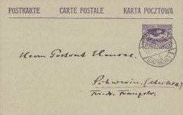 Oberschlesien Postal Stationery Ganzsache Entier Postkarte Carte Postale HINDENBURG 1920 to SCHWERIN Oberschl. (2 Scans