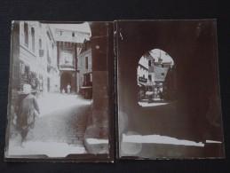 Le MONT-SAINT-MICHEL (Manche) - Lot De 2 Photos Anciennes - Scènes De Vie - Boutiques - Vers 1900 - RARETE ! - Places