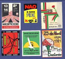 Lote 6 AUTOCOLANTES Propaganda Politica Set 6 SOCIALIST Stickers PORTUGAL Political REVOLUCION 1970s - Werbung