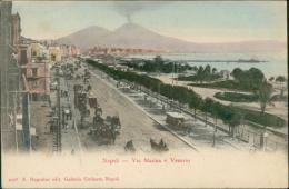 ITALIE NAPOLI / Via Marina E Vesuvio / CARTE COULEUR - Napoli