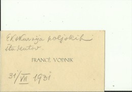 SLOVENIA  --  VISITING CARD  --  FRANCE VODNIK  --  1931 - Visitenkarten