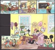 Walt Disney  MiNr. 665 - 669 (Block 64) Anguilla  MNH / ** / POSTFRISCH - Disney