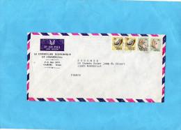 MARCOPHILIE-lettre -kenya+cad-1972 4  Stamp N°coquillages N°38+42-pour Françe - Kenya (1963-...)