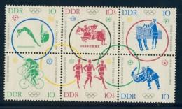 BL1-299 DDR, EAST GERMANY 1964 MI 1039-1044st SPORT, OLYMPICS TOKYO, JUDO, CYCLING, ATHLETICS. MNH, POSTFRIS, NEUF**. - Zomer 1964: Tokyo