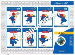 Planche Neuve Coupe Du Monde 98 - La Mascotte Et Le Timbre à 3,00 F (2) - Documents Of Postal Services