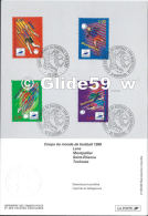 Coupe Du Monde France 1998 - Dessiné Par Louis Briat - Lens - Montpellier - Saint-Etienne - Toulouse - Documenti Della Posta