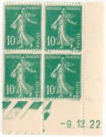 Type Semeuse - N° 159 - Coin Daté 9.12.1922 Dans La Couleur Du Timbre Dans Carré Effaçant Guillochis - 1906-38 Semeuse Camée